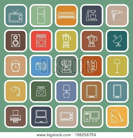 Household line flat icons on green background, stock vector