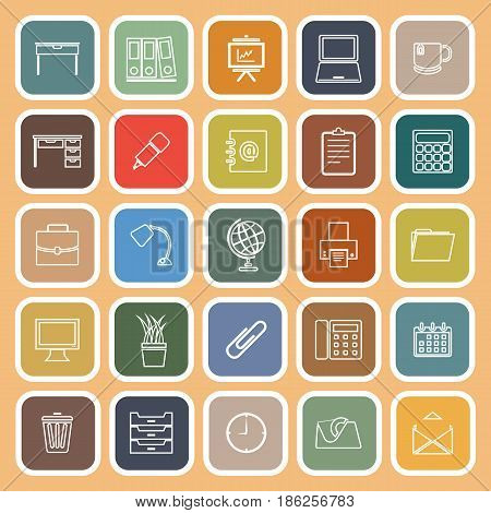 Workspace line flat icons on orange background, stock vetor