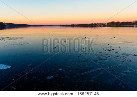 Iced Lake At Sunset