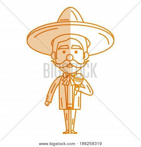 Mexican mariachi with maracas avatar character vector illustration design