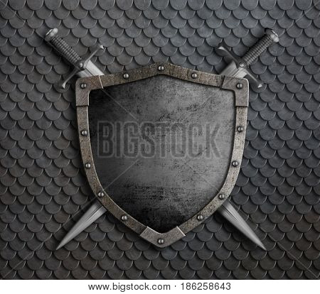 medieval shield with two crossed swords over scales armor 3d illustration