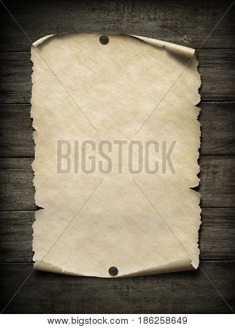 Old blank paper poster with nails 3d illustration