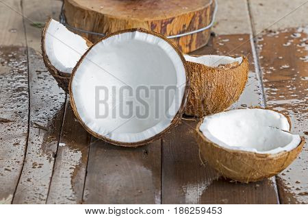 Fresh cracked coconuts with white meat from nature