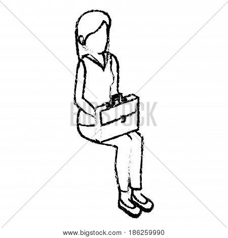 businesswoman isometric avatar character in a sitting position vector illustration design
