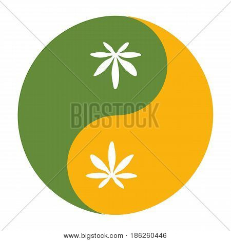 Yin and yang symbol also known as Taijitu as a symbol of harmony with cannabis or hemp leaf. Medical cannabis or marijuana responsible consumption symbol or icon.
