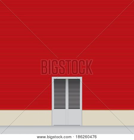 Red wall hangar with a small door.