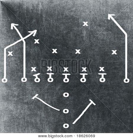 Football play on a chalkboard