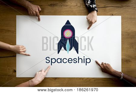 Rocket Spaceship Launch Innovation Technology Graphic