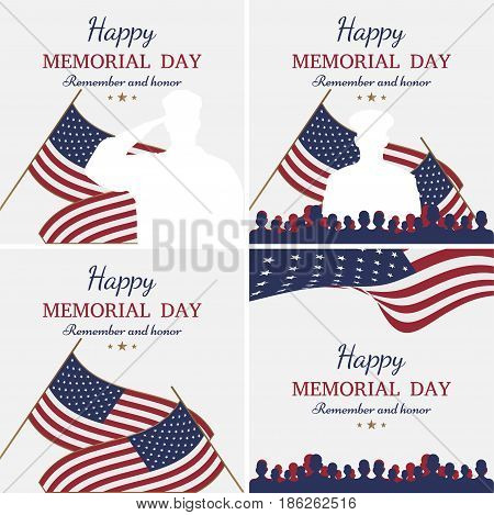Set Happy Memorial Day. Greeting Cards With Flag And Soldier On Background. National American Holida