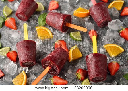 Natural fruit sorbet on a gray background