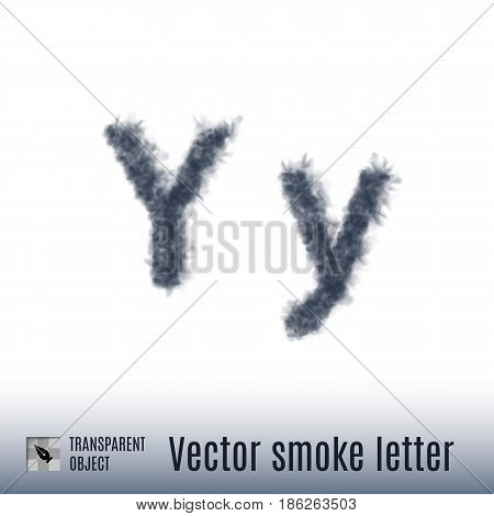 Smoke in Shape of the Letter Y on White Background