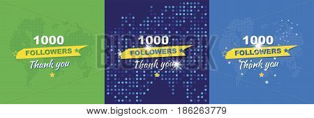 Thank You For 1000 Followers. Set Greeting Cards In Honor Of The Celebration. Flat Vector Illustrati
