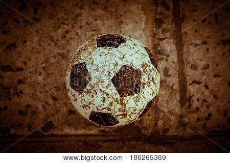 Cloe up of soccer ball in goal