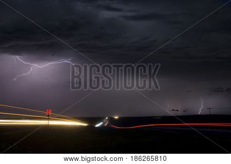 Storm Lightning Trans Canada Highway Night Photo