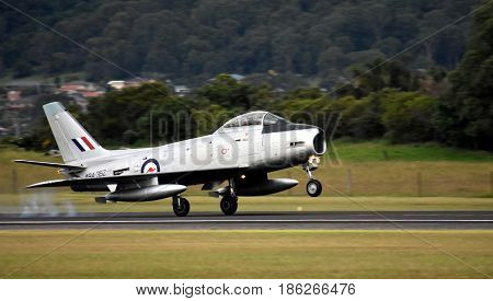 Albion Park Australia - May 6 2017. CAC CA-27 Mk32 Sabre is taking off. Wings Over Illawarra is an annual air show held at Illawarra Regional Airport.