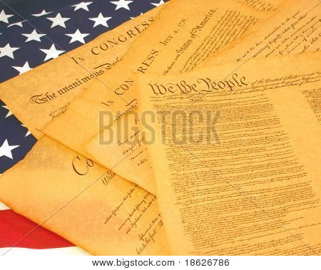 Old American Documents on American Flag
