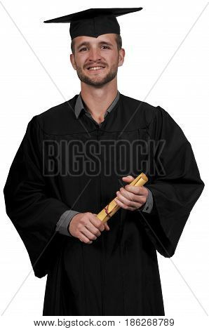 Young man in his graduation robes or gown