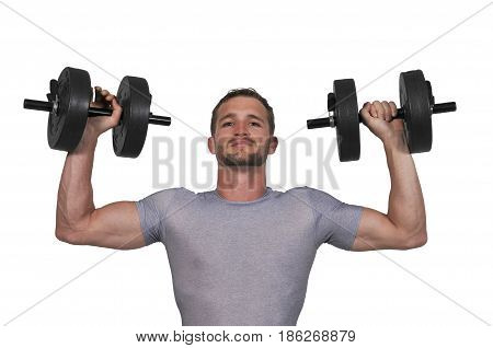 Handsome young muscular man lifting a weight