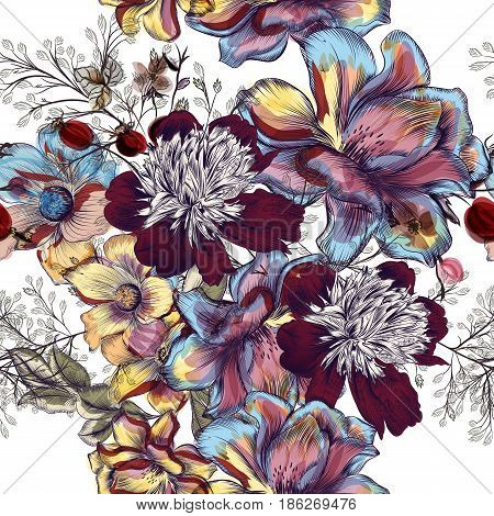 Beautiful floral vector pattern with peony flowers cosmos and field grass. Watercolor vintage style