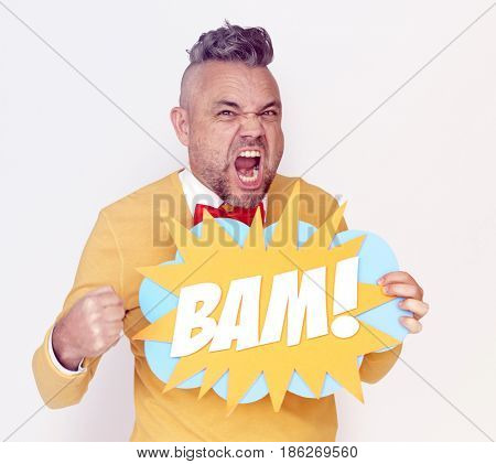 Man holding papercraft with bam word