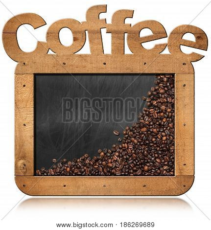Roasted coffee beans in an empty blackboard with wooden frame with text Coffee and copy space. Isolated on white background