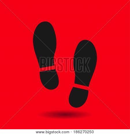 Black Imprint soles shoes icon. Flat design style.