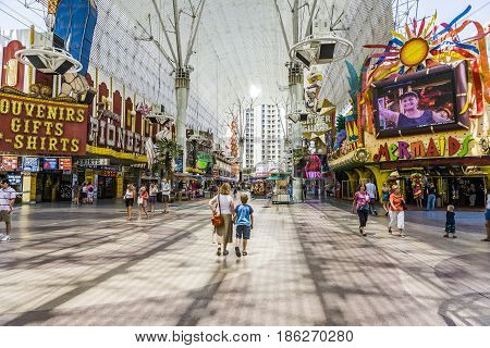 People Visit On Daytime Famous Old Freemont Street Experience