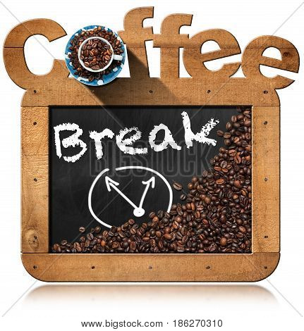 Coffee Break - Blackboard with wooden frame roasted coffee beans and a coffee cup. Isolated on white background