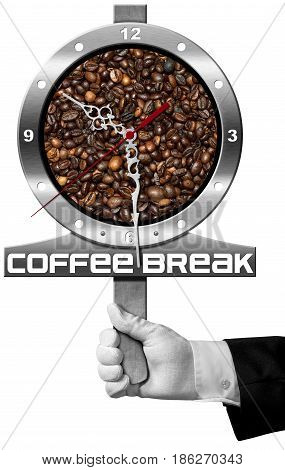 Coffee Break - Hand of a waiter holding a metal signboard with roasted coffee beans and a clock. Isolated on white background