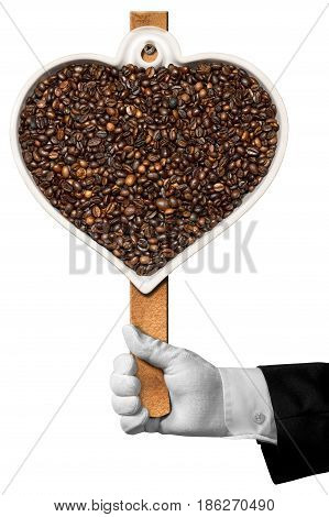 Love Coffee - Hand of a waiter holding a symbol with roasted coffee beans in the shape of a heart. Isolated on white background