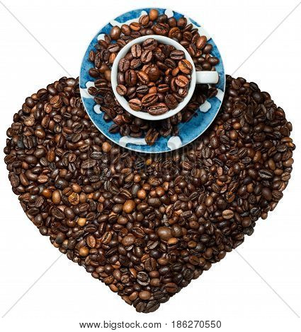 Heart shaped symbol with toasted coffee beans and a coffee cup. Love coffee concept