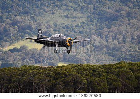 Albion Park Australia - May 6 2017. Grumman TBM-3 Avenger is an American torpedo bomber. Wings Over Illawarra is an annual air show held at Illawarra Regional Airport.