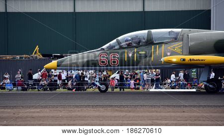 Albion Park Australia - May 6 2017. L-39C Albatros is a high-performance jet trainer aircraft. Wings Over Illawarra is an annual air show held at Illawarra Regional Airport.