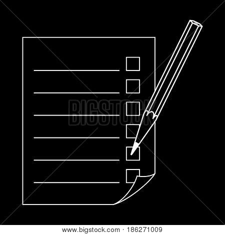 Pencil and a sheet with a list. Vector illustration.