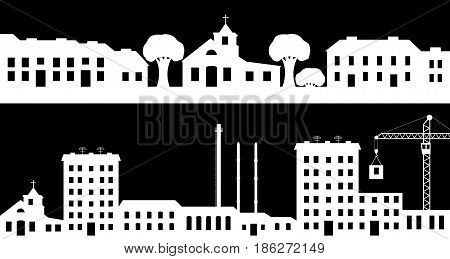 Set of silhouettes the cityscapes. Vector illustration.