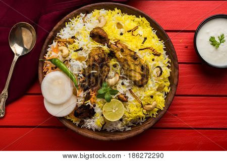 Hyderabadi chicken biryani or dum biryani, selective focus