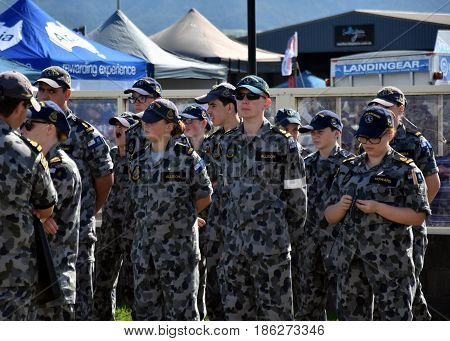 Albion Park Australia - May 6 2017. Australian Navy cadets on the airshow. Wings Over Illawarra is an annual air show held at Illawarra Regional Airport.