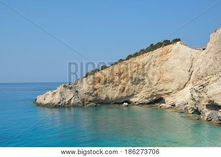 Porto Katsiki beach Lefkada Greece in summer