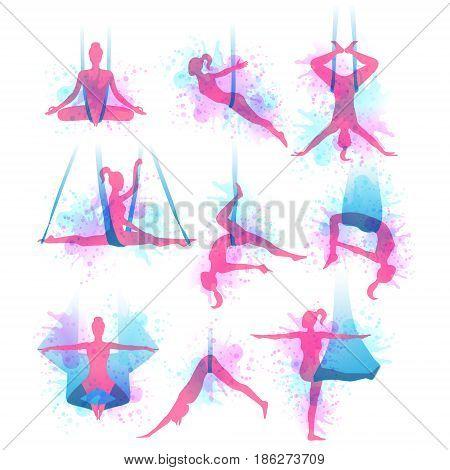 Aero yoga watercolor icons. Women performing asanas in a hanging hammock. Logo design. Vector illustration.