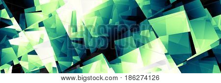 Abstract image 3:1 aspect ratio in futuristic technology style. Horizontal green matrix background.