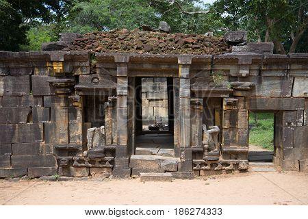 On the ruins of the ancient Hindu temple of Shiva (Shiva Devale). Polonnaruwa, Sri Lanka