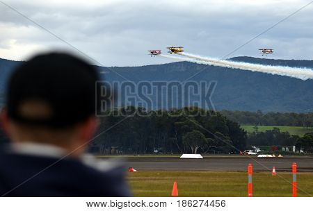 Albion Park Australia - May 6 2017. People watching the airshow. Wings Over Illawarra is an annual air show held at Illawarra Regional Airport.