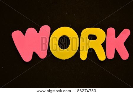 word work on a  abstract black background