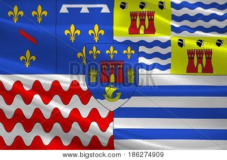 Flag of Evry is a commune in the southern suburbs of Paris France prefecture of the department of Essonne. 3d illustration