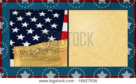 Patriotic Textured Background with Antique Paper Copy Space