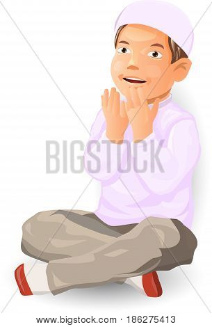Vector illustration of Muslim boy is praying, Moslem kid is doa - Character design