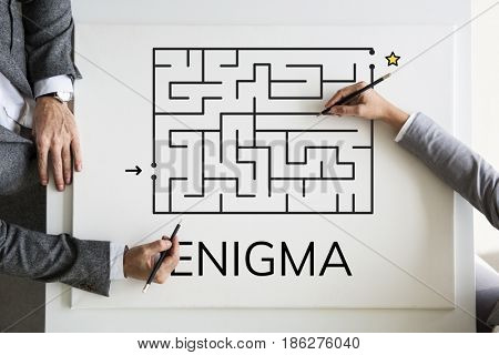 Hands solving enigma concept card