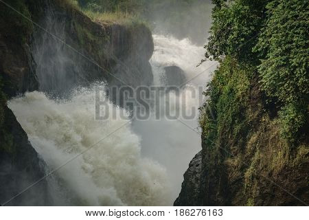 Extreme closeup view of Murchison Falls main one in Nilo River, Uganda, bottom view