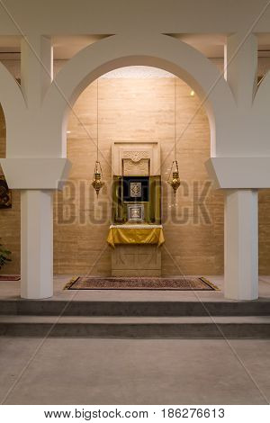 GALILEE, ISRAEL - DECEMBER 3: Interior of the Sanctuary of the Word in Domus Galilaeae on the Mount of Beatitudes near the Sea of Galilee, Israel on December 3, 2016
