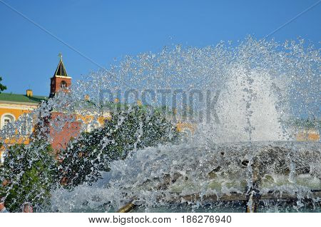 A beautiful and magnificent fountain in the center of the capital city next to the historic place, attracts tourists, guests and travelers to enjoy the picturesque view
